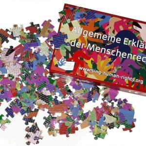 Die Menschenrechtserklärung als Puzzle.